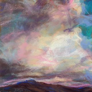 """SHADES OF PURPLE - 4 1/2"""" x 4 1/2"""" sky pastel by Susan Roden"""