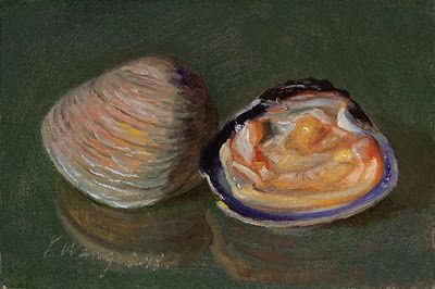 Still life oil painting original sea clam food daily painting a day small work of art