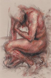 """The Thinker"" crouching male nude figure"