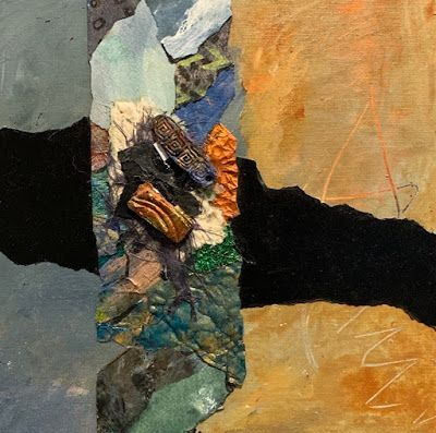 "Contemporary Painting, Mixed Media Art, Textured Art, Collage ""Between Sea and Sand"" by Florida Contemporary Artist Mary Ann Ziegler"