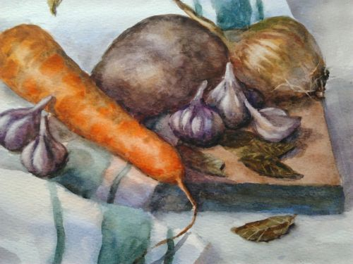"Original watercolour painting still life ""Vegetables"". Size 9,5 x 12,5 inch (24 x 32 cm). Paper"