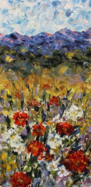 "Palette Knife Floral Landscape Painting ""Spring in the Rockies"" by Colorado Impressionist Judith Babcock"