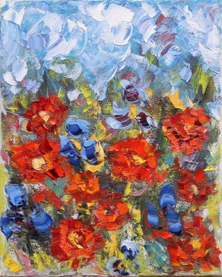 """Abstract Palette Knife Flower Art Painting """"Poppycock II"""" by Colorado Impressionist Judith Babcock"""