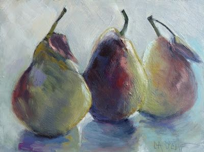 Pear Still Life, Small Oil Painting, Daily Painting, Kitchen Wall Decor, 6x8