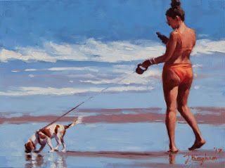 """Searching"" - Series Painting of Dogs & Owners on the Beach"