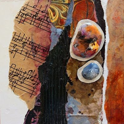 "Mixed Media Abstract Painting, ""Singing Stones"" by Colorado Mixed Media Artist Carol Nelson"