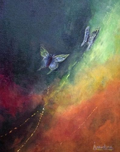 "Abstract Art Painting,Butterfly ,Environmental Art ""Breaking Free 1"" by International Contemporary Abstract Artist Arrachme"