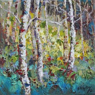 'Spring Hues' Palette Knife Aspen Tree Painting by Contemporary Impressionist Niki Gulley