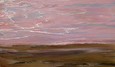 """Abstract Landscape Painting, Pink Sky, Contemporary Landscape """"Softly Calling"""" by International Contemporary Artist Kimberly Conrad"""