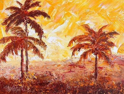 """Coastal Landscape Painting,Palm Trees """"Too Hot To Handle"""" by Florida Impressionism Artist Annie St Martin"""