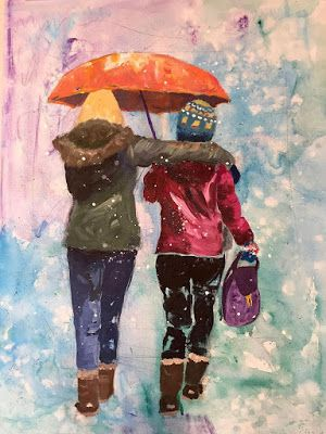 """Contemporary Female Figurative Painting, """"Let it Snow"""