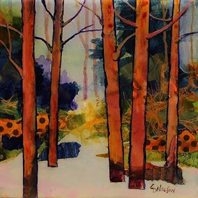 "Abstract Landscape, Trees, Fine Art Print Abstract Painting, ""Winter Trail"" © Carol Nelson Fine Art"