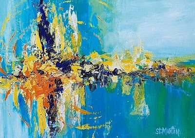 "Abstract Art, Contemporary Painting ""Mystic Moment"" by Florida Impressionism Artist Annie St Martin"