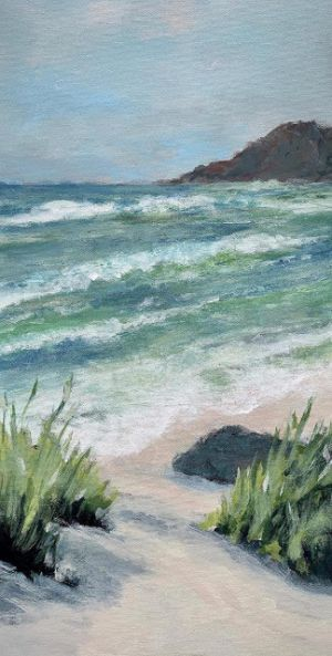 "Seascape Painting, Impressionist Seascape,Coastal Art, ""Celine's View"" by Contemporary Artist Liz Thoresen"