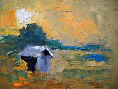 Abstract Landscape | Daily Painting | Small Oil Painting | Seeing Better Days by Carol Schiff | 6x8 Oil