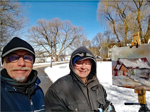 While Painting Boat Houses On The Frozen Rideau River