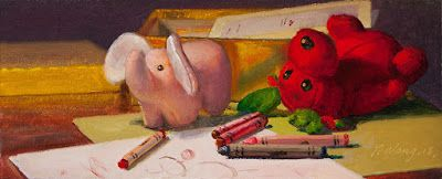 Stuff animals crayons still life oil painting contemporary realism small work of art