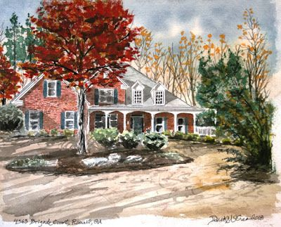 House Watercolor Painting Pen and Ink Drawing