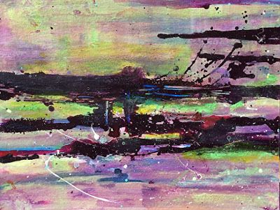 "Mixed Media Abstract Painting ""Purple Splash"" by California Artist Cecelia Catherine Rappaport"
