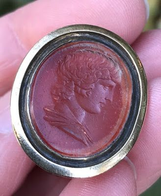 18th century English Georgian carved Carnelian of Antinous Watch Fob seal