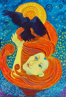 "Original Whimsical Female Figurative Painting ""Yellow Lady and Raven"" by Colorado Artist Nancee Jean Busse"