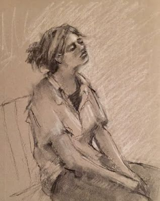 Exhausted - original charcoal figurative drawing of a young woman