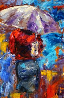 "Rainy City Painting, Abstract Cityscape, Figurative Umbrella ""Woman With Purple Umbrella"" by Texas Artist Debra Hurd"