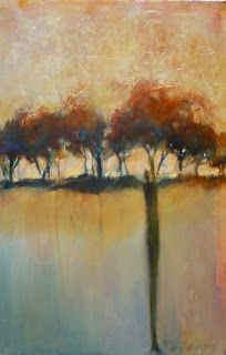 """Abstract Landscape Painting,Trees Gold Leaf """"Standing With Family"""" by Intuitive Artist Joan Fullerton"""