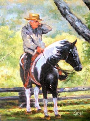 Like an iPhone Cowboy, 6x8 Small Oil Painting on Canvas