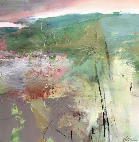 "Abstract Mixed Media Abstract Landscape Painting ""SPRINGTIME PRAIRIE"" by Intuitive Artist Joan Fullerton"