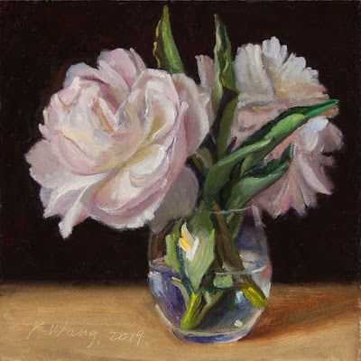 Peony flower original oil painting still life flora contemporary realism