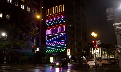 New Neon Interactive Mural by Spidertag in Montreal Canada