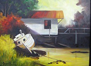 Boat and Dock, oils canvas, Barbara Haviland