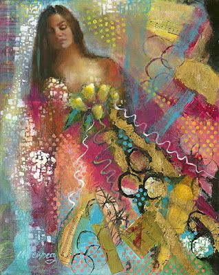 """Female Portrait Painting, Figurative Art """"Wild Bride Abstract 5"""" by Illinois Artist Marilyn Weisberg"""