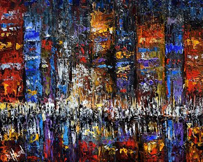 "Palette Knife Cityscape, City Scene Oil Painting,""Celebration"" by Texas Artist Debra Hurd"