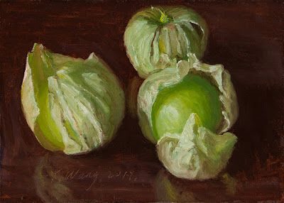 Tomatillos husk tomato original oil painting still life a painting a day