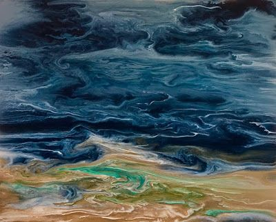 "FLASH SALE, Beach Art, Abstract Seascape ""Gulf Storm-Electric Storm Series"