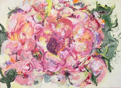 """Contemporary Floral Abstract Fine Art Painting, """"MIXED BOUQUET"""" by Contemporary Expressionist Pamela Fowler Lordi"""