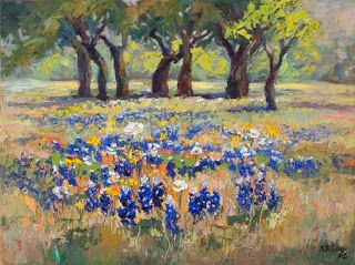 """Just Sold - """"April's Palette"""" Texas Bluebonnet Oil Painting by Niki Gulley"""