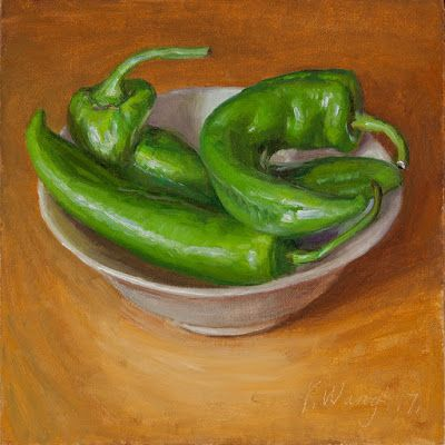 Green peppers in a bowl still life oil painting original daily painting a day painting for kitchen