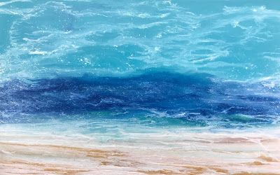 "Abstract Seascape, Coastal Decor Art, Contemporary Seascape, Ocean Wave Art ""Windswept Waters II - Skillern's Seas Series"
