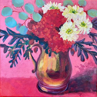 "Contemporary Bold Expressive Still Life Flower Art Painting, ""Tuesday Bouquet"" by Santa Fe Artist Annie O'Brien Gonzales"