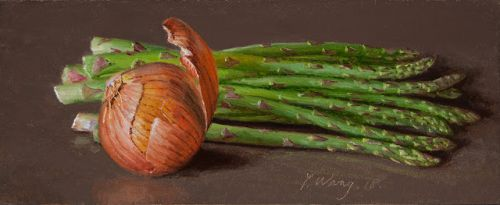 Asparagus onions still life oil painting daily painting a day contemporary realism