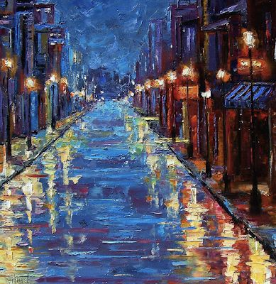 "Abstract Cityscape Fine art Print, Rainy City, ""New Orleans Bourbon Street"" by Texas Artist Debra Hurd"