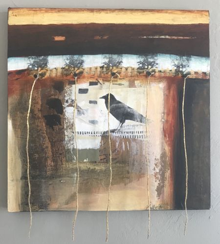 "Contemporary Mixed Media Bird Art Painting ""NON-ATTACHMENT"" by Intuitive Artist Joan Fullerton"