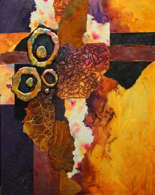 "Abstract mixed media collage painting, ""Slow Tango"" by Mixed Media Artist Carol Nelson Fine Art"