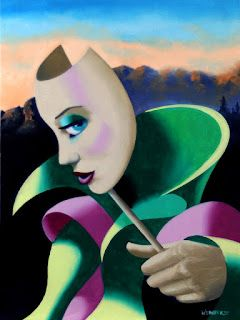 Mark Webster - Looking for Strange - Abstract Surrealist Mask Oil Painting