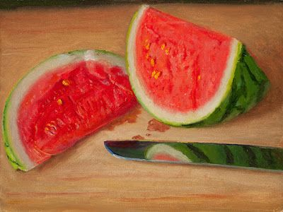 Watermelon slices painting original still life fruit daily painting a day