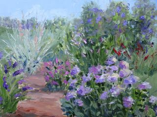 Summer Garden, New Contemporary Landscape Painting by Sheri Jones