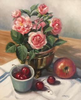 Rose Still Life With Fruit